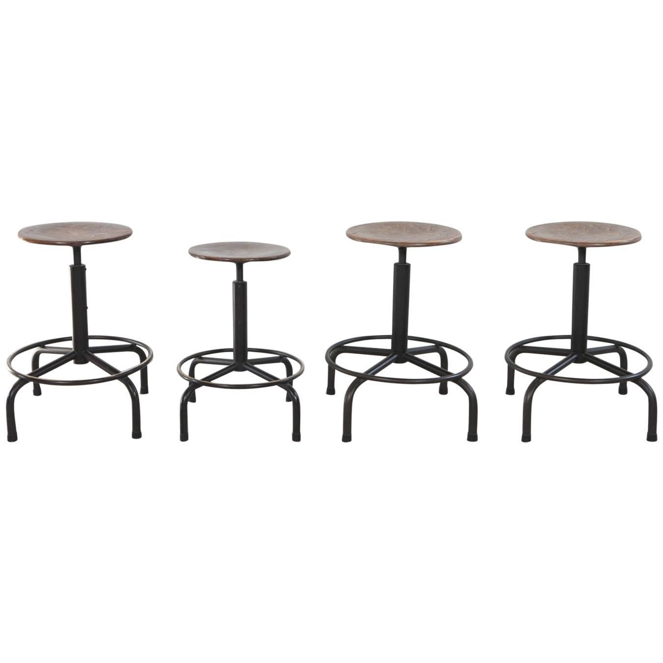 Metal and Wood Swivel Adjustable Height Counter Stool at 1stdibs