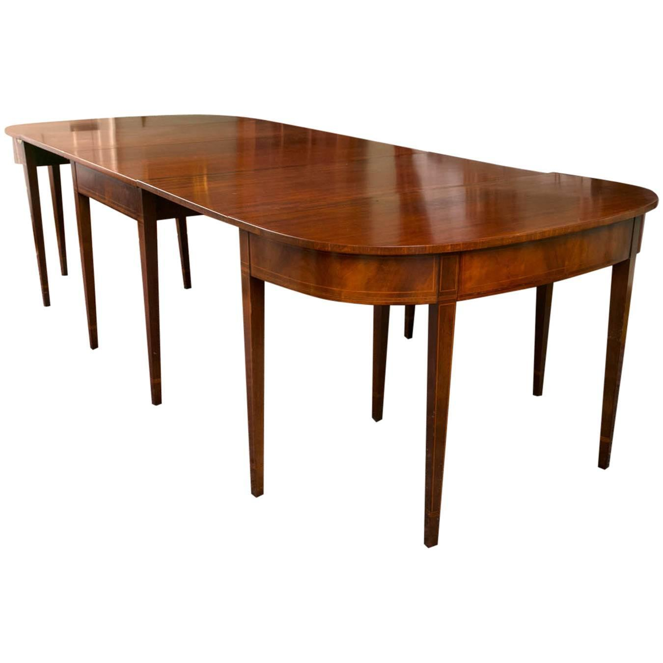 Federal style mahogany three part dining table circa 1920 for Dining room table styles