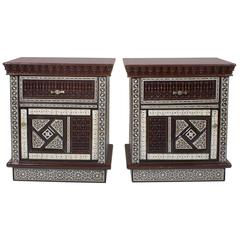 Pair of Large Scale Midcentury Moroccan Nightstands