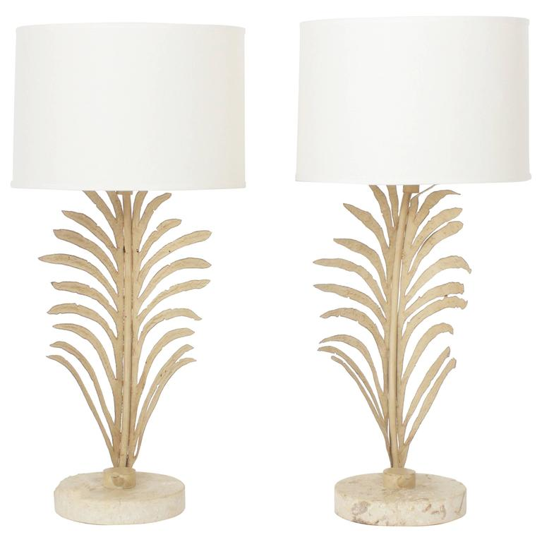 Pair of palm leaf table lamps for sale at 1stdibs pair of palm leaf table lamps for sale aloadofball Image collections
