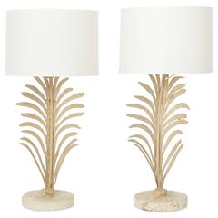Pair of Stylish Midcentury Palm Leaf Table Lamps