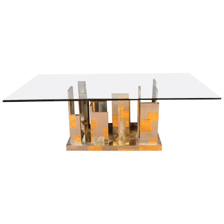 Large Midcentury Paul Evans Cityscape Brass Patchwork Table  For Sale