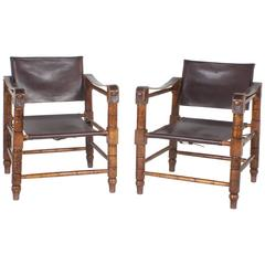 Handsome Pair of Brown Leather Campaign or Safari Chairs