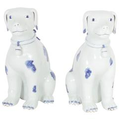 Pair of Blue and White Chinese Export Style Porcelain Dogs