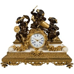 French Antique Ormolu Patinated Bronze and Marble Mantel Clock