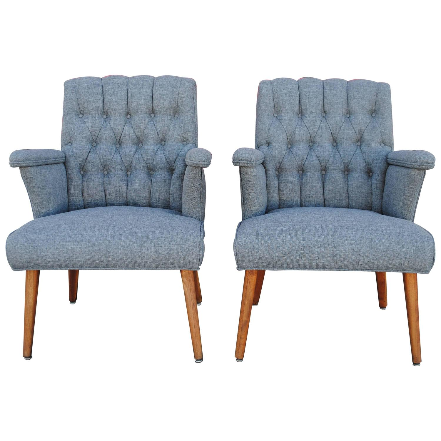 pair of mid century modern tufted lounge chairs at 1stdibs