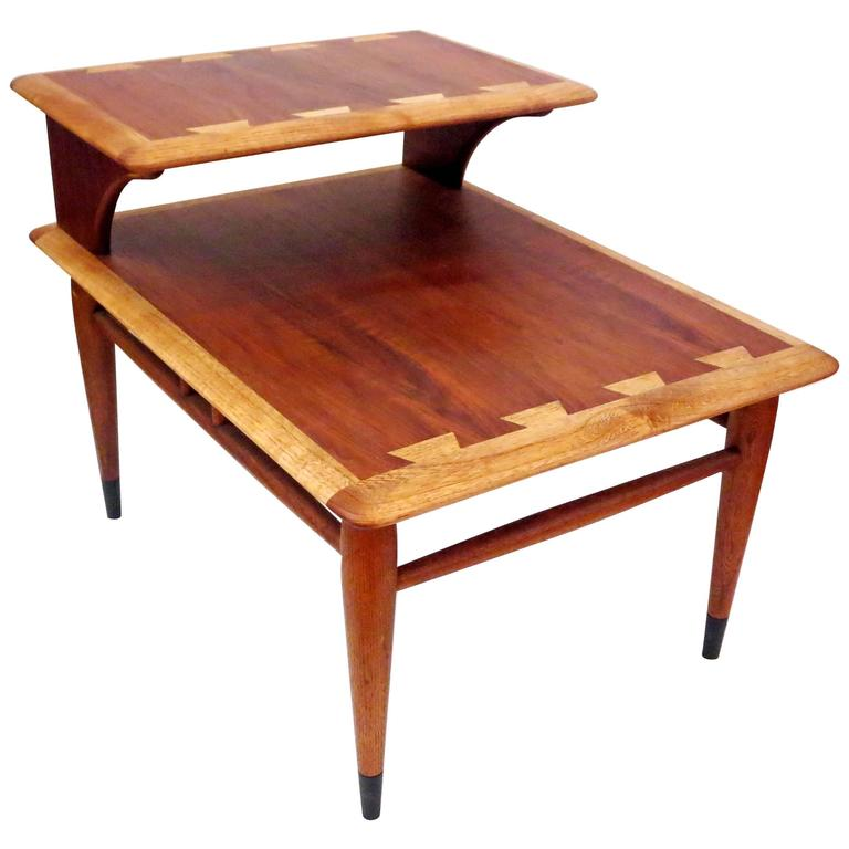 1950s Mid Century End Table By Lane Furniture: 1950s American Modern Walnut Step End Side Table Atomic