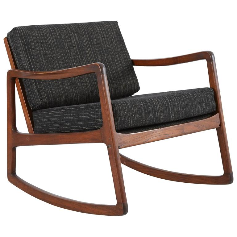 Danish Rocking Lounge Chair by Ole Wanscher at 1stdibs