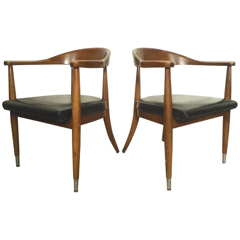 Pair Of Mid Century Modern Round Back Chairs For