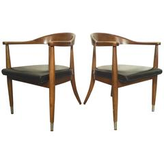 Pair of Mid-Century Modern Round Back Chairs