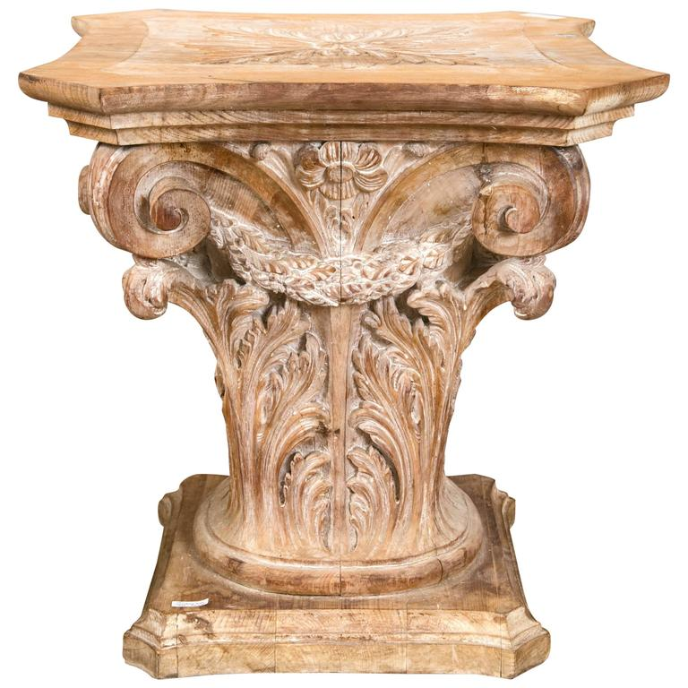Wooden corinthian column form table base at 1stdibs for Architectural wood columns