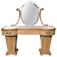 Hollywood Regency Dorothy Draper Style Mirror Top Vanity or Desk