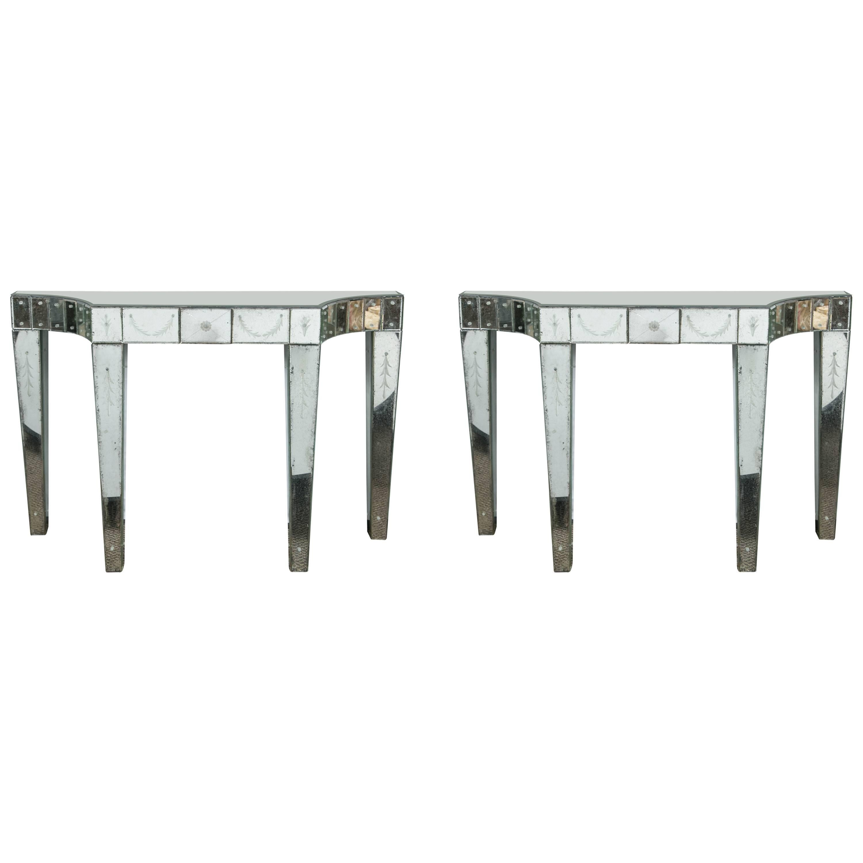 Fine Pair of Custom Quality Etched and Mirrored Hollywood Regency Console Tables
