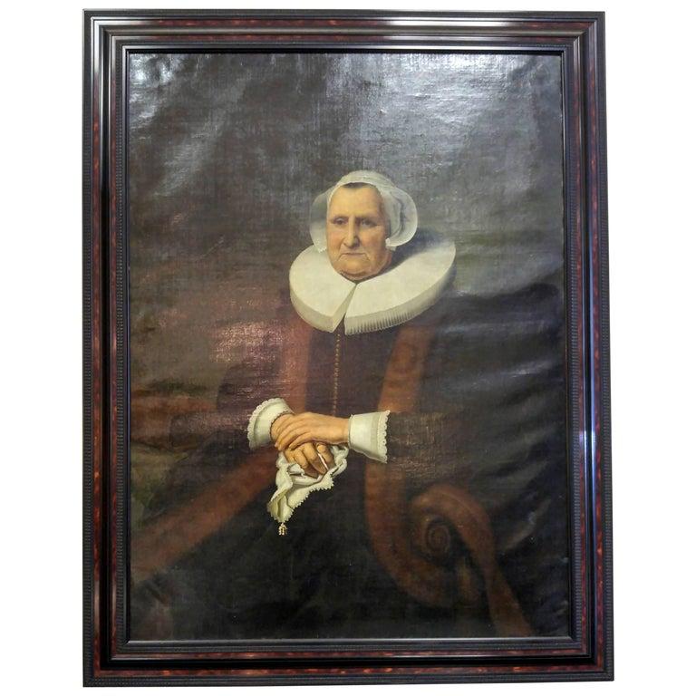 19th century Dutch Portrait Oil on Canvas For Sale