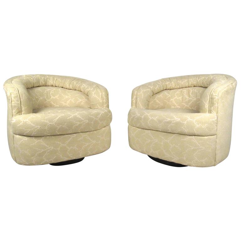 Pair Mid-Century Modern Swivel Lounge Chairs For Sale
