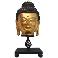 Very Rare 14th Century Large Bronze Head of Buddha from Tibet