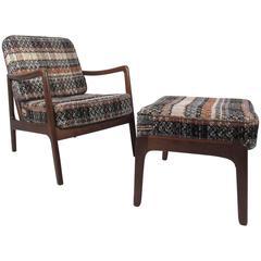 Mid-Century Modern Ole Wanscher Lounge Chair with Ottoman by John Stuart