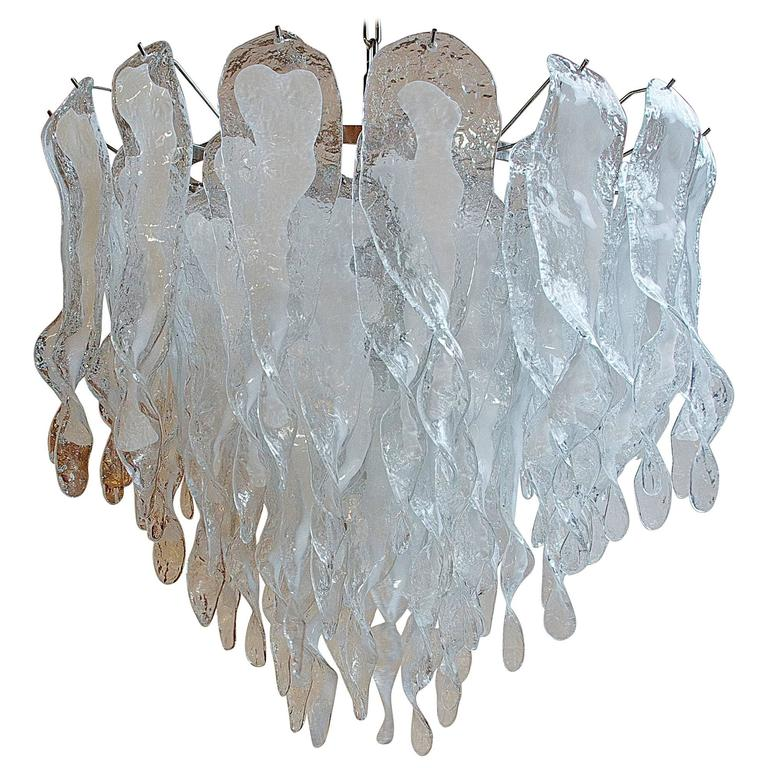 Mazzega Clear and White Bent Leaves Cake Chandelier
