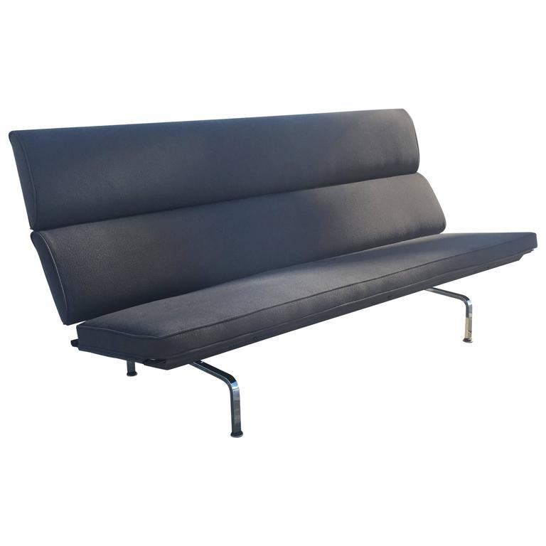 eames herman miller sofa compact in grey tweed at 1stdibs