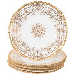 Set of a Dozen White and Gold Tiffany Dishes