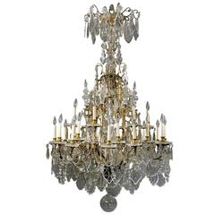 Late 19th Century Gilt Bronze and Baccarat Crystal Chandelier