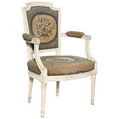 Late 19th Century French Louis XVI Style Painted Fauteuil