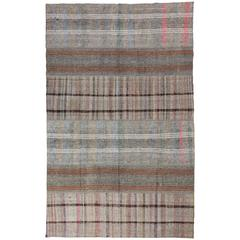 Cotton and Goat Wool Nomadic Kilim Rug