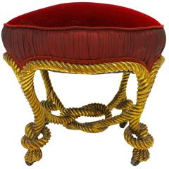 French Napoleon III Style Giltwood Rope Stool with Circular Red Velvet Seat