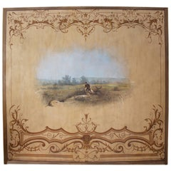 Large French Painted Panel with a Countryside Scene Framed by Arabesque Designs