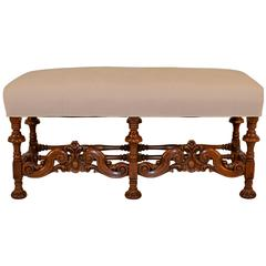 19th Century English Walnut Upholstered Bench