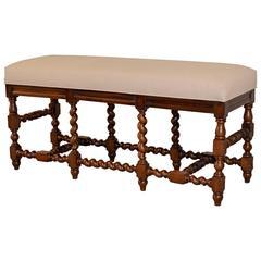 19th Century English Oak Upholstered Bench