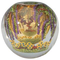 Chris Heilman Round Art Glass Vase with Wisteria and Flowers