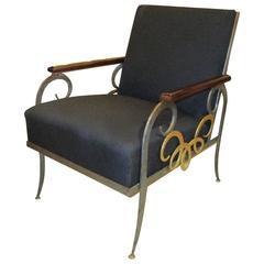 Rare Art Deco Armchair with Gilt Iron Detailing