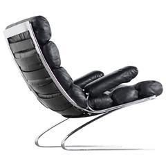 COR, Sinus Easychair Lounge Chair, 1976 Reinhold Adolf, Black Leather