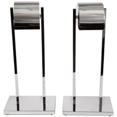 Pair of Chrome Table Lamps with Rotating Canopy and Dimmer by Kovacs