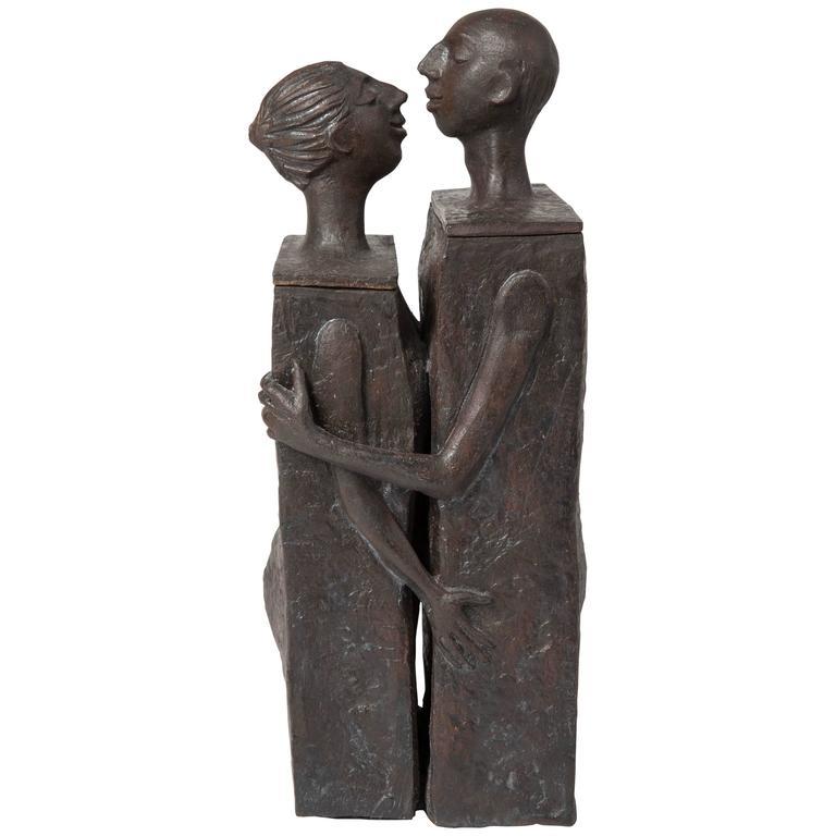 Embracing Male and Female Ceramic Figural Lidded Box Sculpture 1