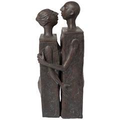 Embracing Male and Female Ceramic Figural Lidded Box Sculpture