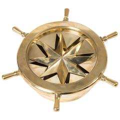Small Brass Nautical Themed Ash Tray with Rotating Ships Wheel Cover