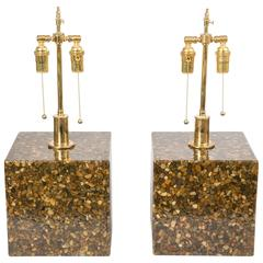Pair of Cubic Resin and Pebble Lamps with Brass Hardware