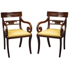 Pair of Klismos-Form Armchairs