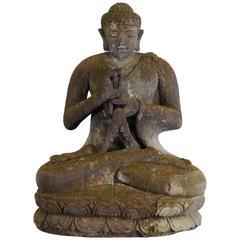 Monumental Lava Stone Hand-Carved Buddha, 20th Century