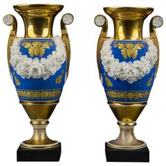 "Pair of ""Old Paris"" Vases with Garlands of Bisquit Flowers"