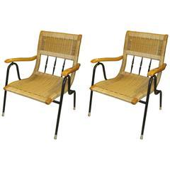 Pair of Mid-Century Italian Rattan and Iron Armchairs