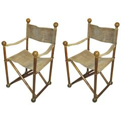 Pair of Hand-Stitched Director's Chairs with Brass Hardware