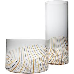 Set Of Glass Vase And Glas Bowl by Fratelli Toso