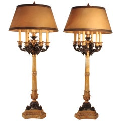 Pair of Impressive French Restauration Candelabra Mounted as Lamps