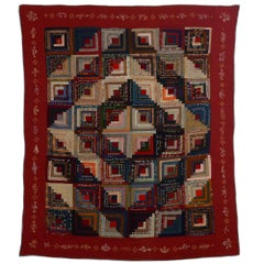 Barn Raising Log Cabin Quilt with Embroidery