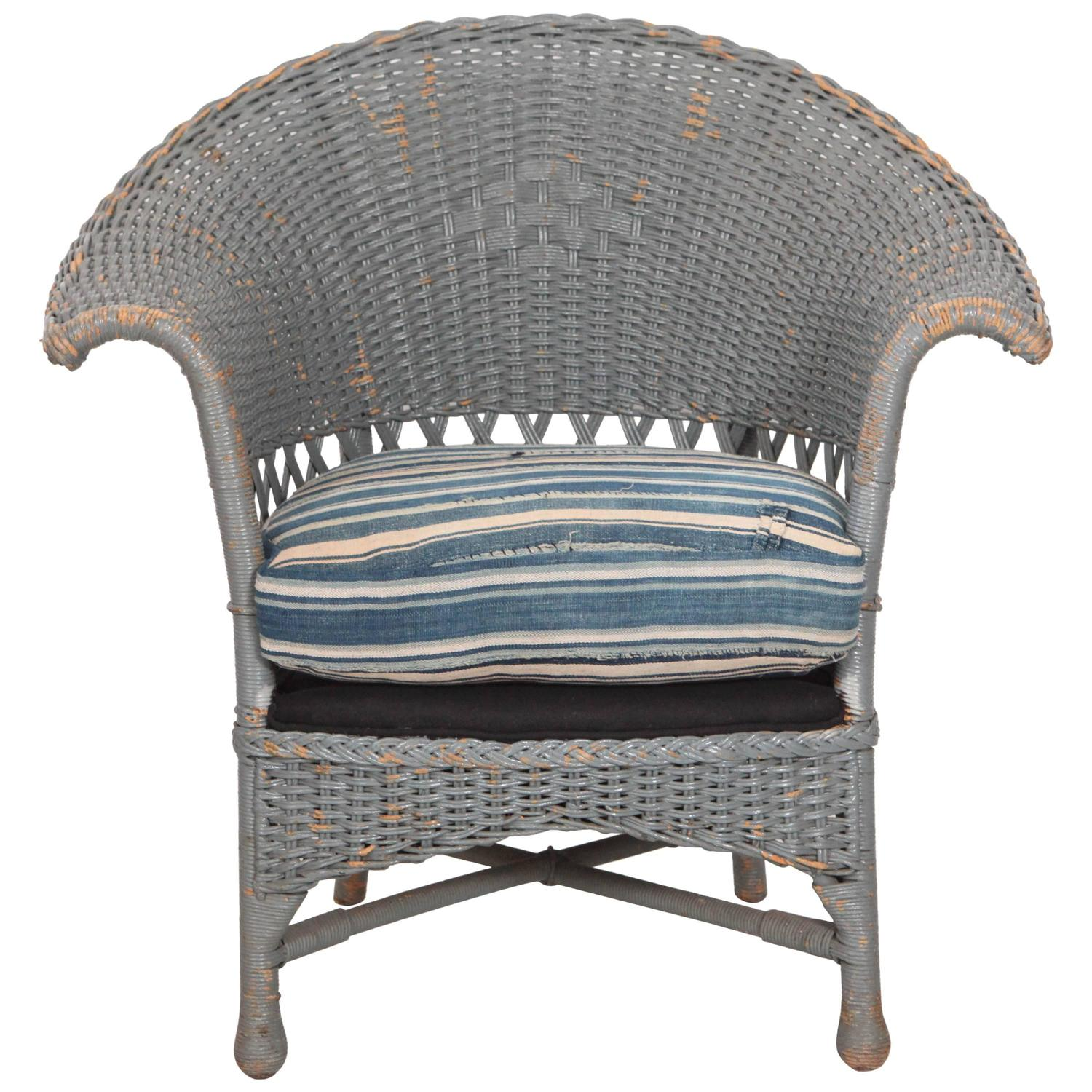 Bon Vintage Wicker Veranda Chair With African Mudcloth Cushion For Sale At  1stdibs