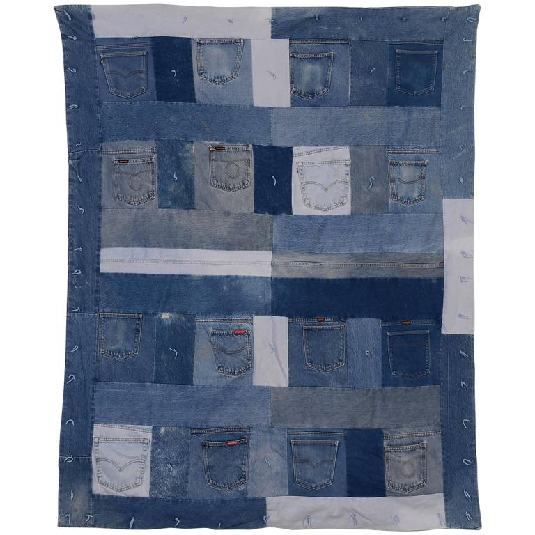 Denim Quilt with Jeans Pockets For Sale