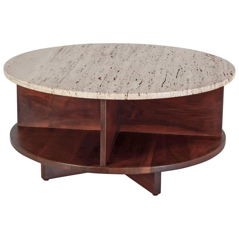 Arden Riddle Rotating Walnut And Travertine Coffee Table Usa 1969 For Sale At 1stdibs